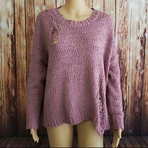Umgee Sweater Pink Pullover S Distressed